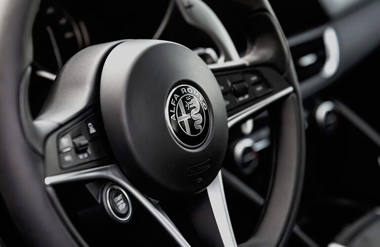 2018 Alfa Romeo Giulia steering wheel close-up