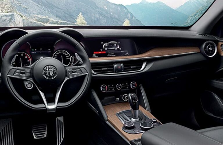 steering wheel and dashboard of the 2018 Alfa Romeo Stelvio