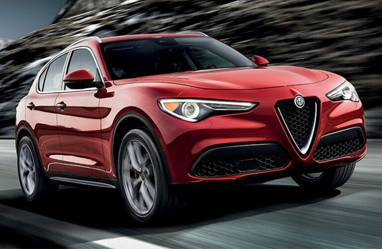 front view of a red 2018 Alfa Romeo Stelvio