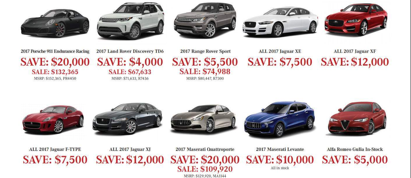 second slide of offers for the 2017 Aristocrat Motors Demonstrators Sale