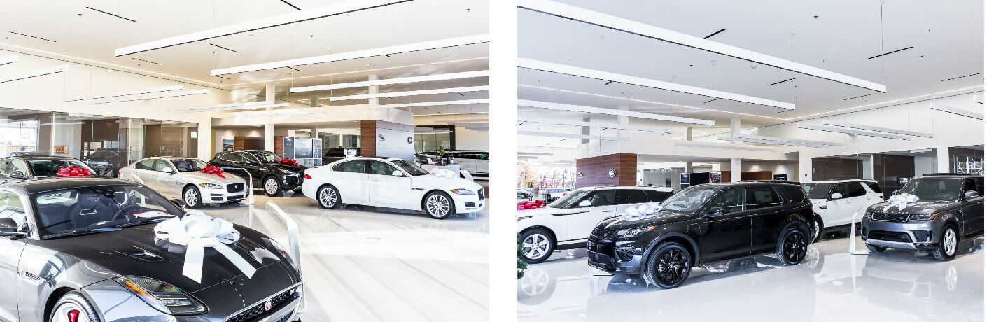 side by side images of the Jaguar and Land Rover showroom at Aristocrat Motors