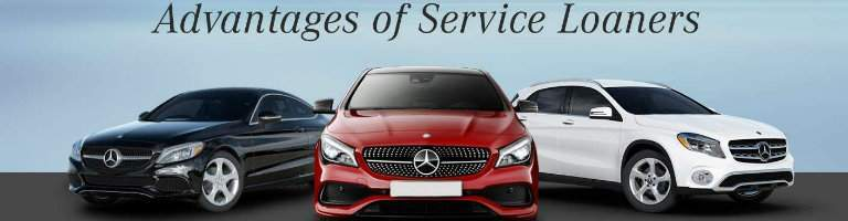 "three Mercedes-Benz vehicles titled ""Advantages of Service Loaners"""