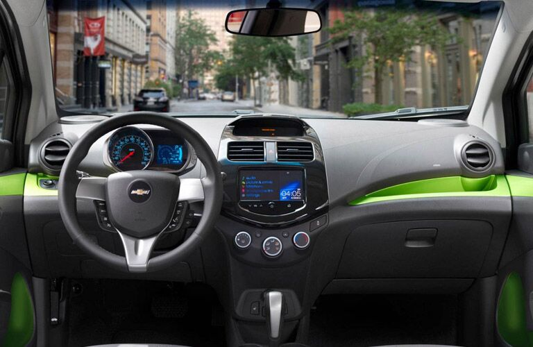 Chevy Spark interior with green accents