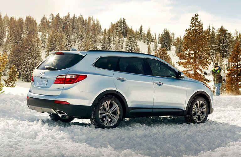Silver 2015 Santa Fe in Snow