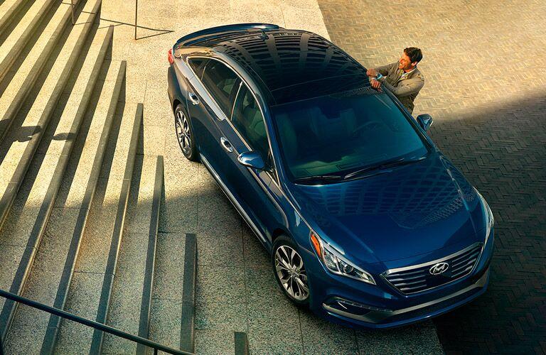 Aerial View of Blue 2015 Hyundai Sonata