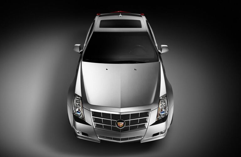 2011 Cadillac CTS Coupe Performance exterior front fascia and top view on grey background