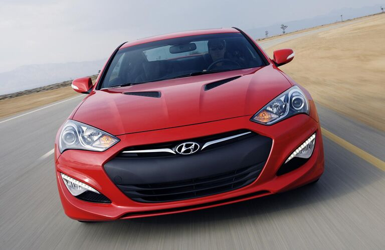 2013 Hyundai Genesis Coupe 2.0T exterior front fascia going fast on road