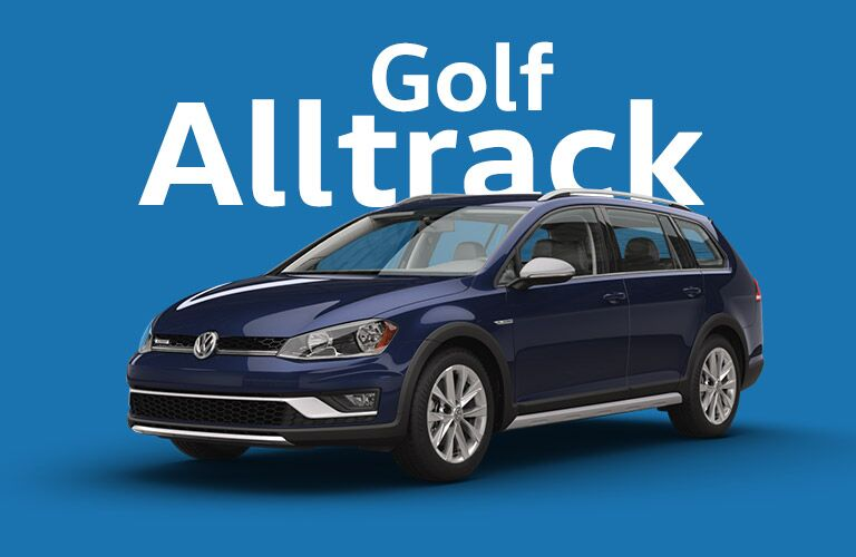 navy blue Volkswagen Golf Alltrack with bright blue background