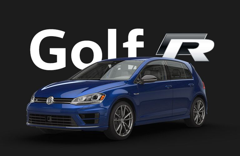 blue Volkswagen Golf R with black background