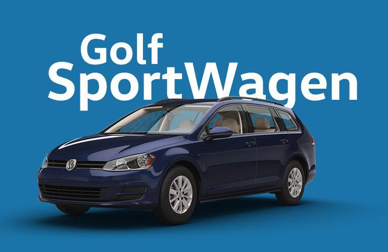 dark blue Volkswagen Golf Sportwagen with blue background