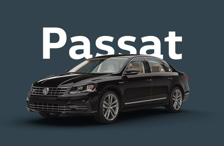 black Volkswagen Passat with dark blue background