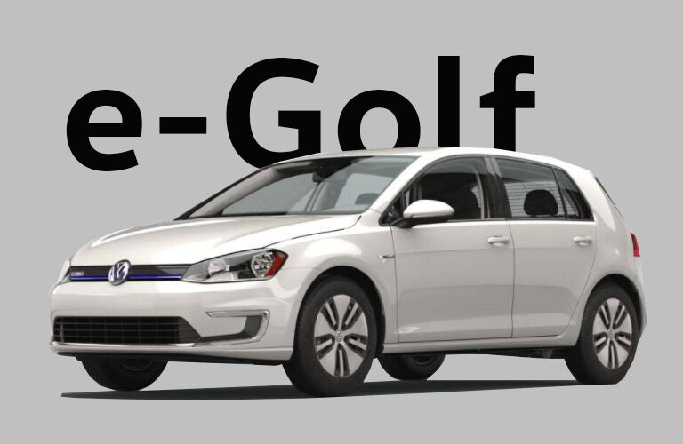 white Volkswagen e-Golf with gray background