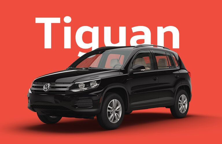 black Volkswagen Tiguan with red background