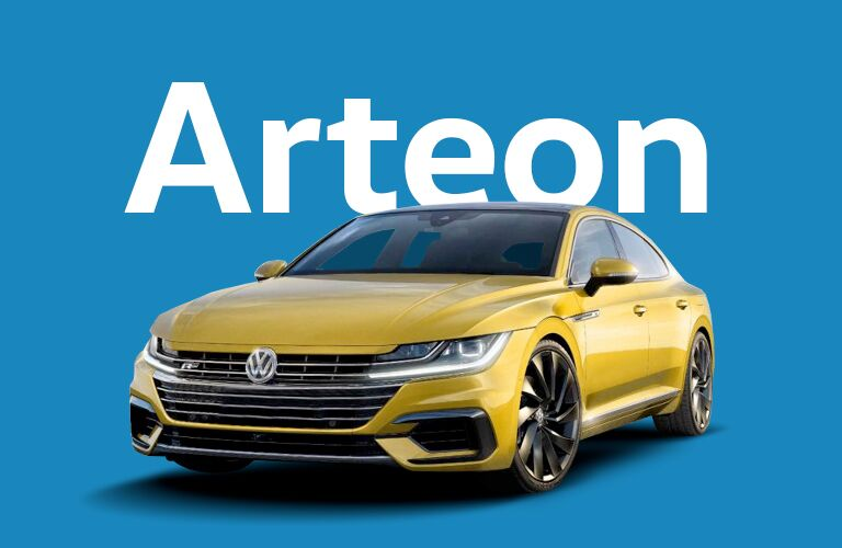 gold Volkswagen Arteon with blue background