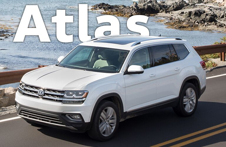 white Volkswagen Atlas with Atlas title
