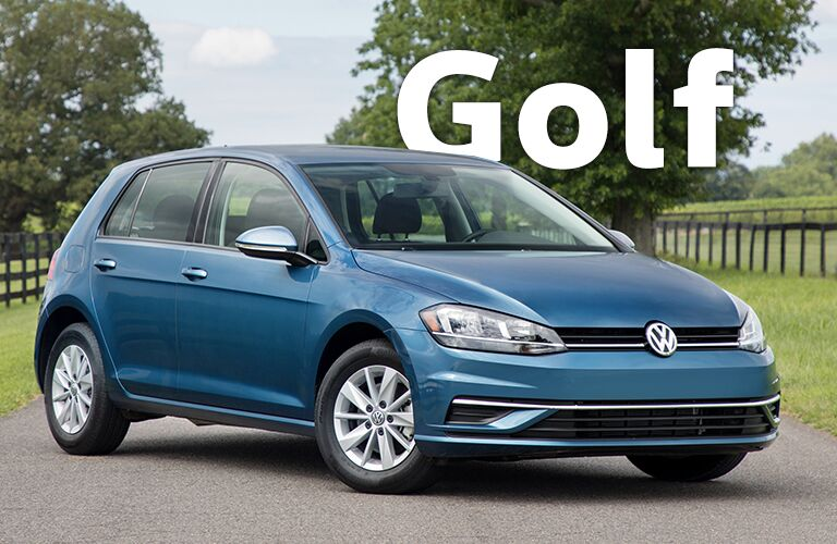 blue Volkswagen Golf with Golf title