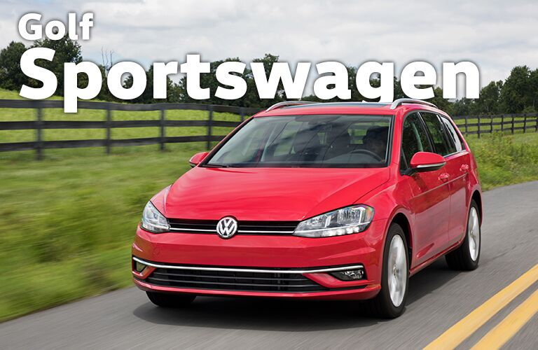 red Volkswagen Golf Sportwagen with Golf Sportwagen title