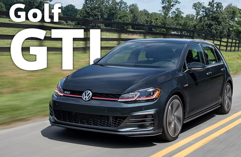 black Volkswagen Golf GTI with Golf GTI title