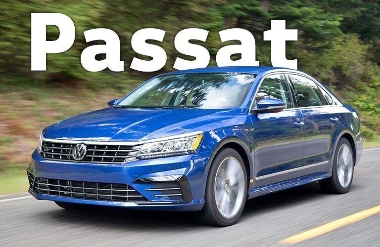 blue Volkswagen Passat with Passat title