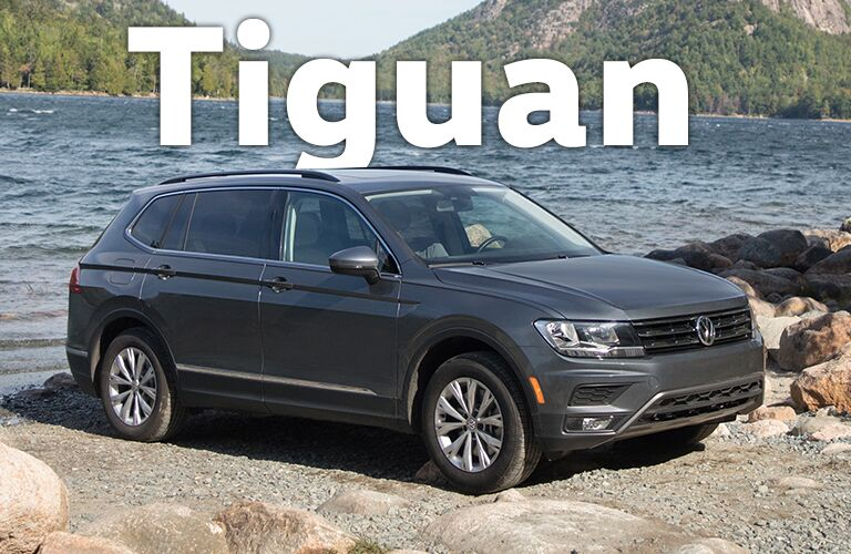gray Volkswagen Tiguan by water with Tiguan title