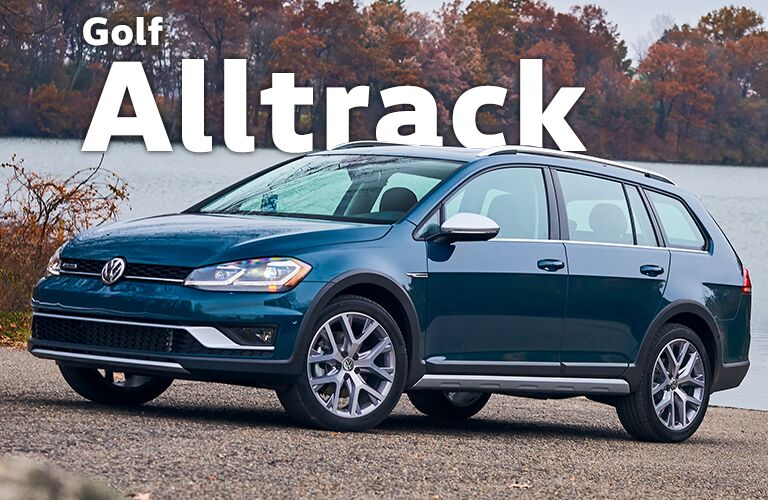 dark blue Volkswagen Golf Alltrack with Golf Alltrack title