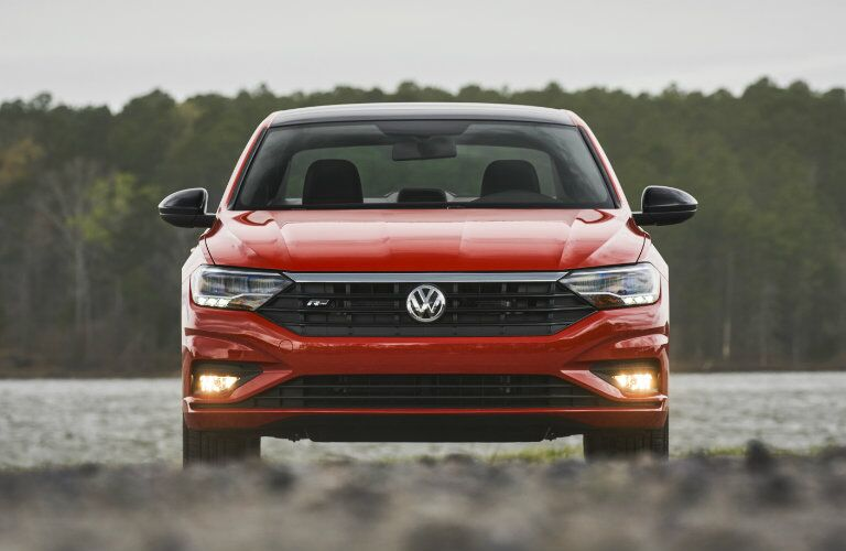 Front profile of orange 2019 Volkswagen Jetta