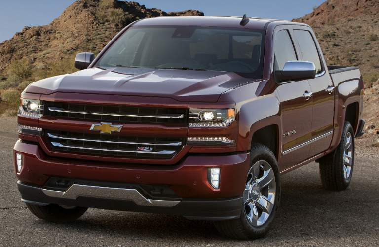 2017 Chevy Silverado red side view