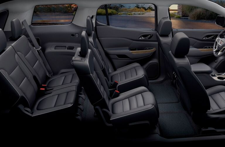 2018 GMC Acadia Denali black leather interior three rows