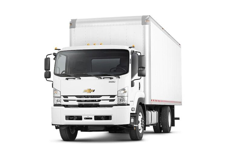2018 Chevy Low Cab Forward white front view