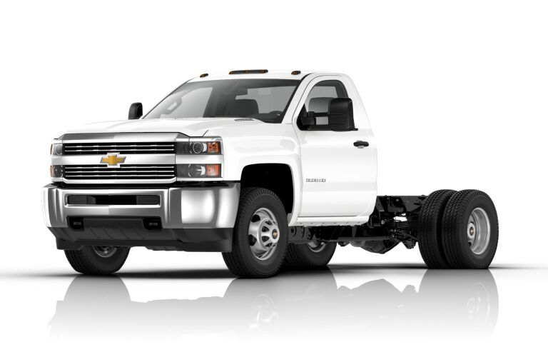 2018 Chevy Silverado Chassis Cab white side view