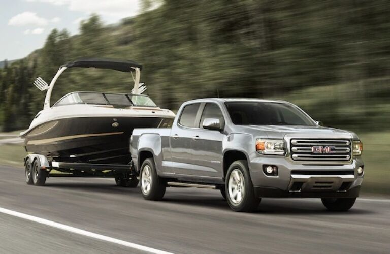 2018 GMC Canyon towing a boat
