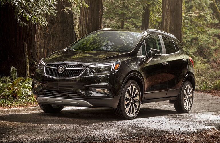 2019 Buick Encore black front side view in a forest