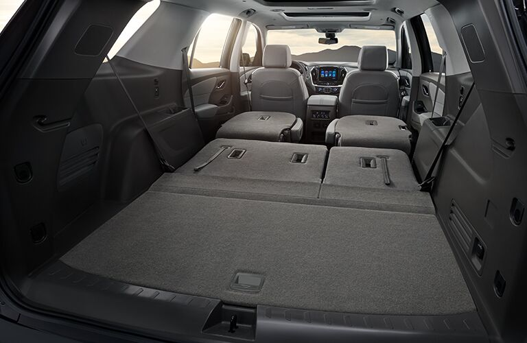 2019 Chevy Traverse cargo room with all the seats folded down