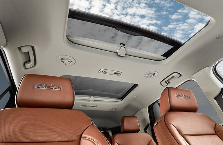 2019 Chevy Traverse High Country interior tan seats and sunroof