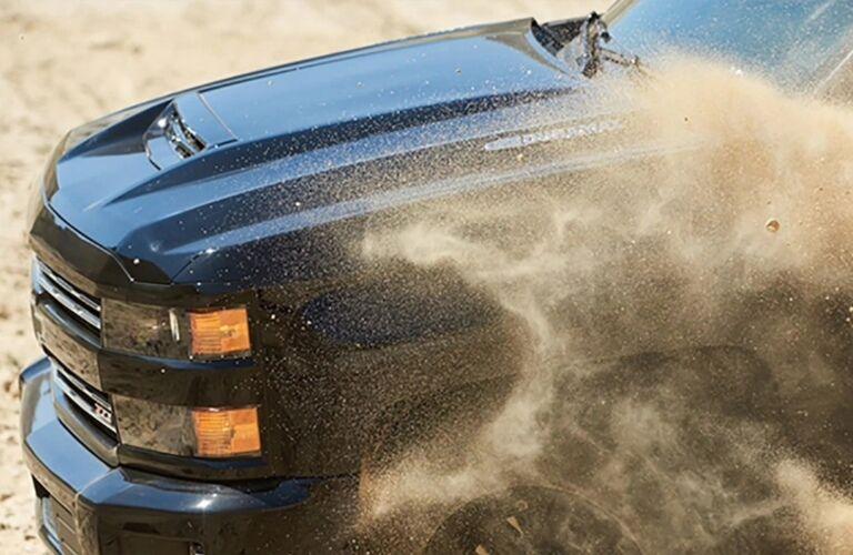2019 Chevy Silverado 2500HD black hood in sand