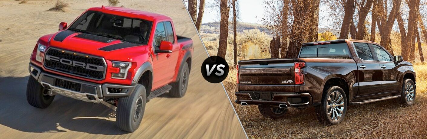 Comparison image of a red 2019 Ford F-150 and a brown 2019 Chevrolet Silverado 1500