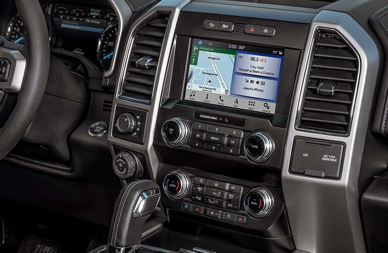 Closeup interior view of the touchscreen inside a 2019 Ford F-150