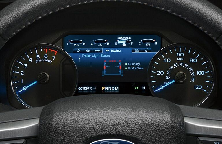 Closeup interior view of the instrument panel inside a 2019 Ford F-150