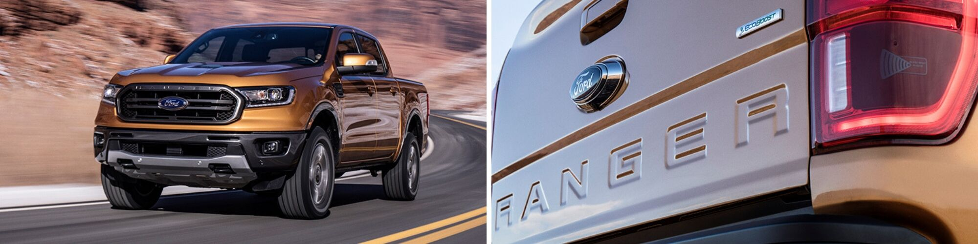 2019 ford ranger driving and rear view