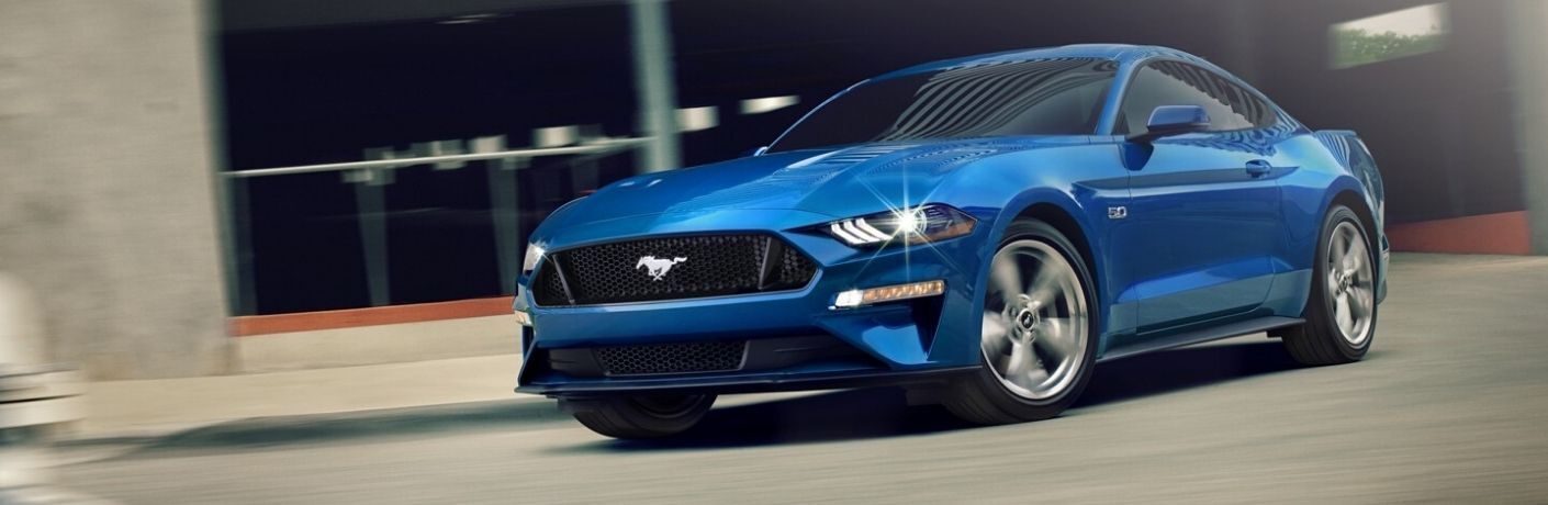 Exterior view of a blue 2020 Ford Mustang