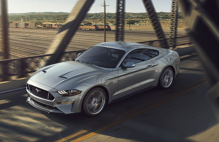 Exterior view of the front of a silver 2020 Ford Mustang