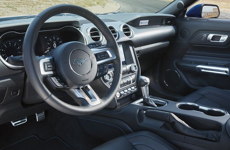 Interior view of the steering wheel inside a 2020 Ford Mustang