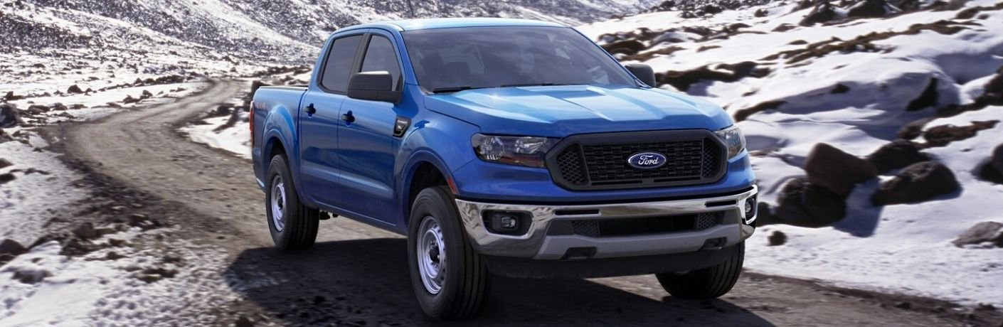 Exterior view of a blue 2020 Ford Ranger