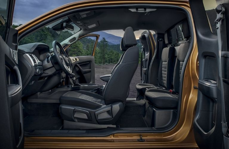Interior view of the seating available inside a 2020 Ford Ranger
