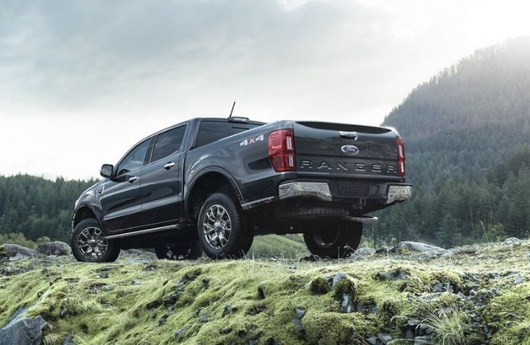 Exterior view of the rear of a black 2020 Ford Ranger