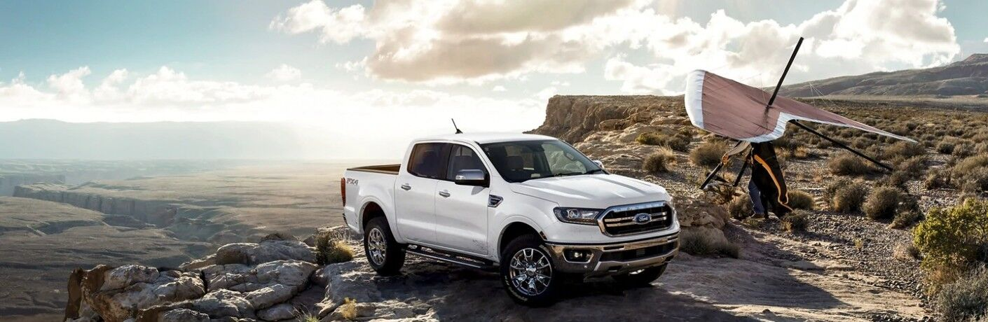 2021 Ford Ranger parked on a cliff