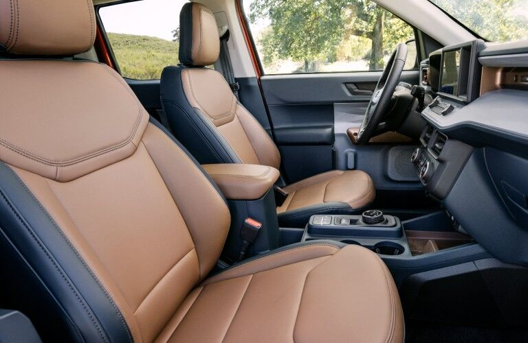 The front seats in the 2022 Ford Maverick.