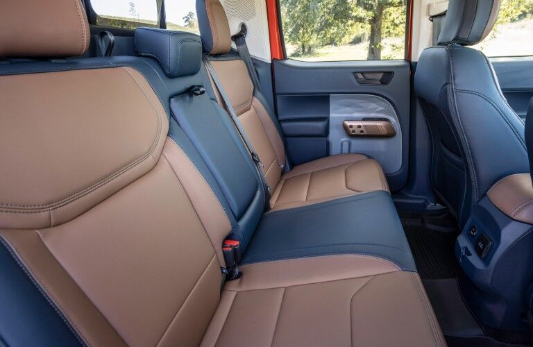 The backseats in the back of the 2022 Ford Maverick.