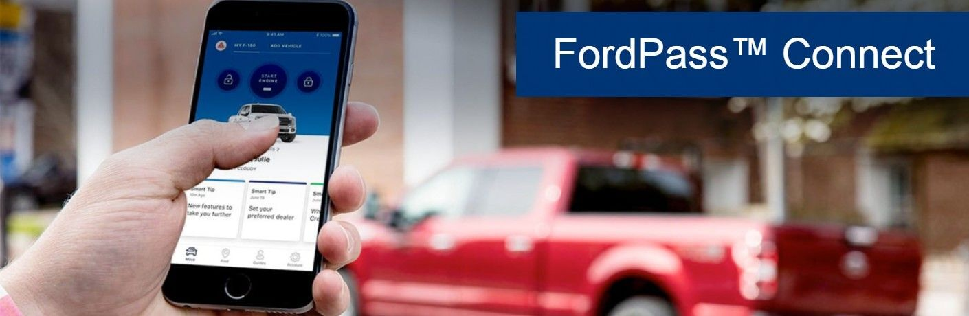 FordPass Connect banner featuring a close-up of a hand using a smartphone