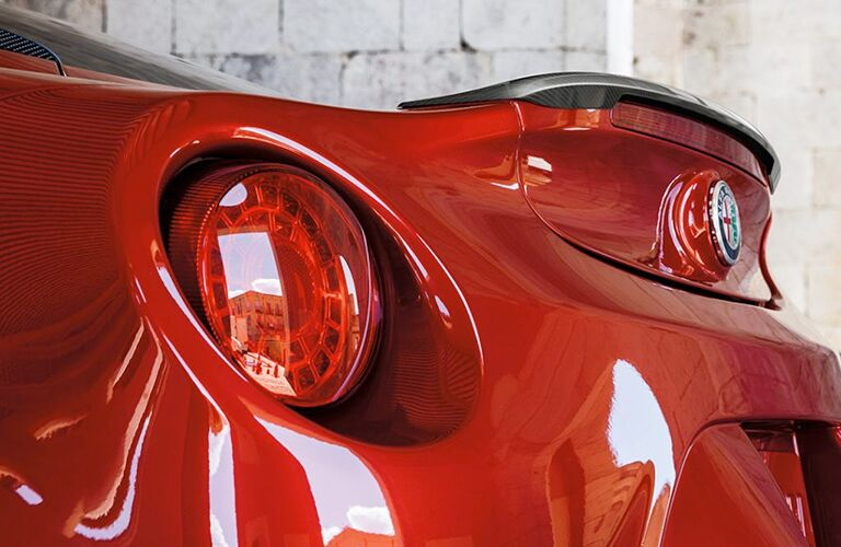 Close-up of the taillight of the 2018 Alfa Romeo 4C